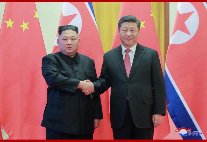 2019年1月8日、北京で習近平氏と会談した金正恩氏(朝鮮中央通信)